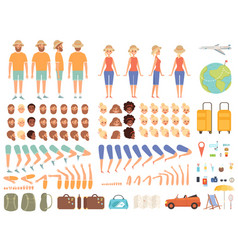 Travel constructor female character hiking vector