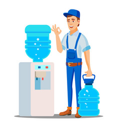 Water delivery service man drinking clean vector