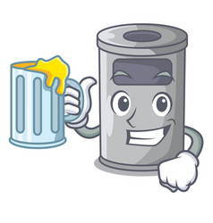 with juice cartoon steel trash can in the room vector image