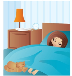 Woman cartoon sleeps vector