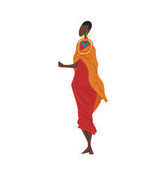Woman in maasai national lothing female vector