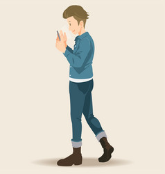 young man holding smartphones and texting talking vector image