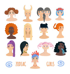 Zodiac girls collection isolated on white vector