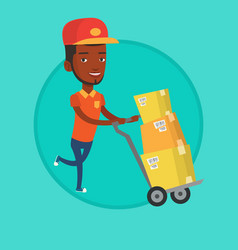 delivery postman with cardboard boxes on trolley vector image