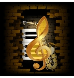 Golden treble clef saxophone piano key on a brick vector image vector image