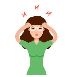 headache girl high blood pressure concept vector image