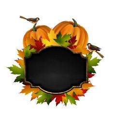 Autumn chalkboard signboard vector
