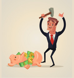 businessman character smashed piggy bank vector image vector image