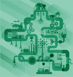 Ecology factory industry sustainable vector image vector image
