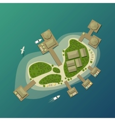 Island top view with tourist beach and umbrella vector image vector image