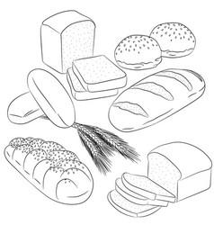 line art various bread baking vector image