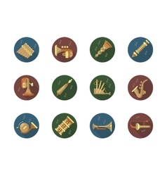 Round color icons set for music instruments vector image