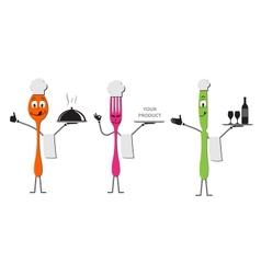 Spoon knife and fork cartoon vector