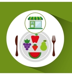 Store fresh vegetables vegan products vector