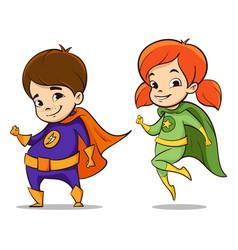 two happy super hero kid vector image vector image