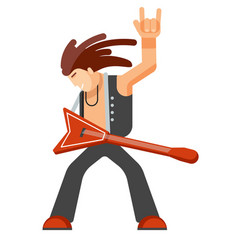 rock musician with long hair in leather clothes vector image