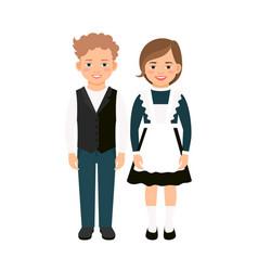 school children on white vector image
