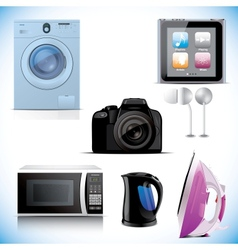 Set of household electronic elements vector image vector image
