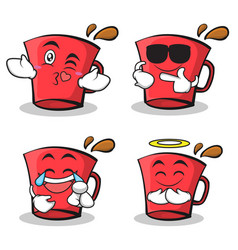 set red glass character cartoon collection vector image vector image