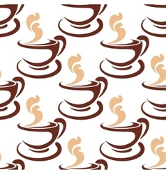 Steaming coffee cup seamless pattern vector image