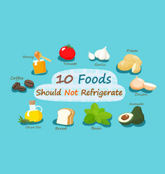 10 foods should not refrigerate vector image vector image