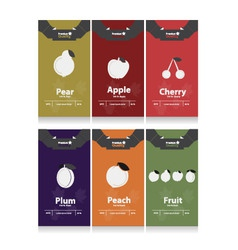 autumn fruits labels vector image vector image