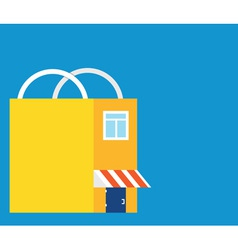 Flat market-bag with copyspace for text vector