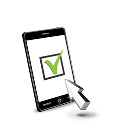 smart phone and checkbox vector image vector image