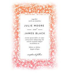 vintage wedding invitation template vector image vector image