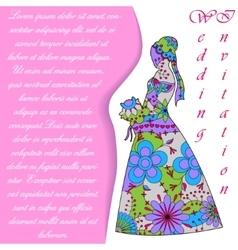 Wedding invitaton with bride silhouette colorful vector image vector image