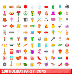 100 holiday party icons set cartoon style vector image