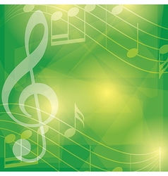 abstract green music background with notes vector image