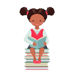african american school girl character with book vector image