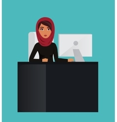 Arab business woman teacher profession Muslim vector