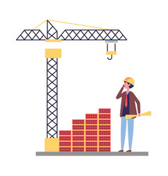 architect with blueprints brick wall crane vector image