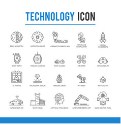 Artificial intelligence technology icon pack vector