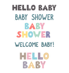 Baby shower hand drawn lettering collection vector