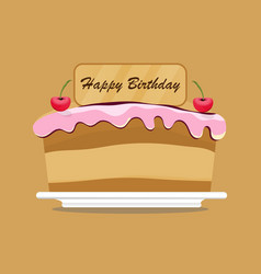 birthday cake with fruit and candle design vector image