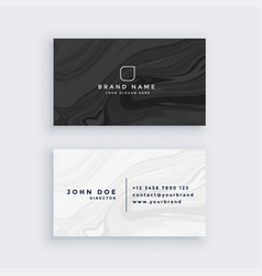 black and white modern business card with marble vector image