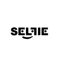 black logo with soft corners selfi on a vector image