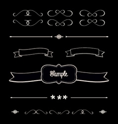 Blackboard shabby chic design elements dividers vector image