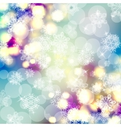 Bokeh lights background with snowflakes vector image