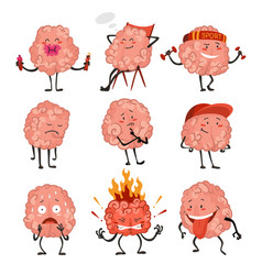 brain character emotion brain characters making vector image
