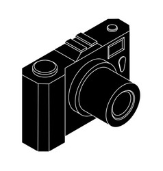 camera isometric black outline drawing vector image