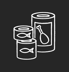 Canned goods and soups chalk white icon on black vector
