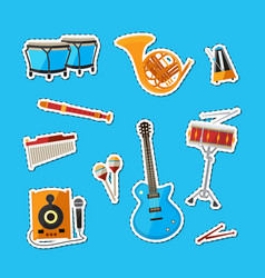 cartoon musical instruments stickers set vector image