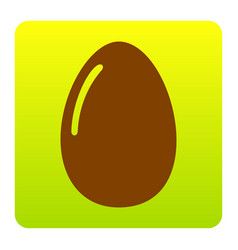 Chiken egg sign brown icon at green vector