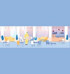 Closed restaurant cafe interior empty food court vector