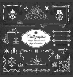 collection graphic elements on chalkboard vector image