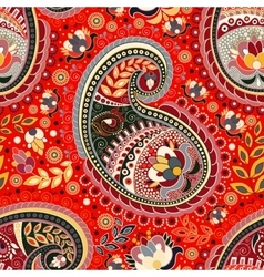 Colorful Paisley seamless pattern Red Indian vector